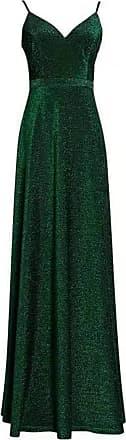 Ever-pretty Womens Adjustable Spaghetti Straps V Neck Elegant A Line Shinny Long Wedding Guest Dresses Dark Green 22UK