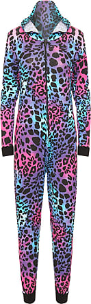 WearAll Womens Animal Aztec Zebra Print Onesie Ladies Playsuit Long Hooded Jumpsuit - Turquoise/Cerise Animal - 12/14