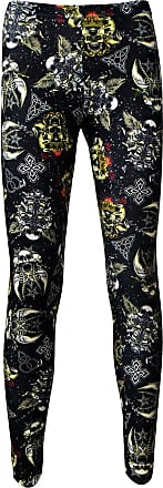 Insanity Gothic Grunge Texture Skulls Swords Wings Celtic Printed Leggings (M/L)