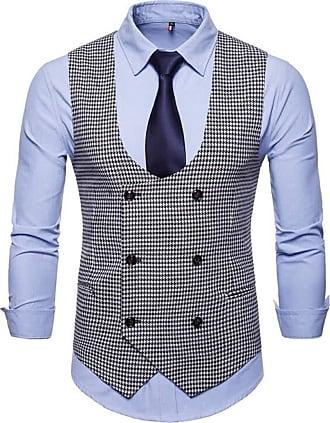 H&E Men Double-Breasted Houndstooth Suit Casual U-Neck Slim Waistcoat Vest Black M