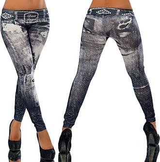 G701 Damen Jeans Look Hose Röhre Leggings Leggins Treggings Skinny Jeggings, Farben:Schwarz;Größen:38 (M)