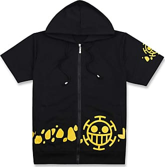 Cosstars One Piece Anime T-Shirt Adult Cosplay Short Sleeve Hoodie Jacket 1 L Black