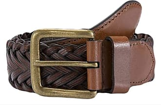 Dents Mens Plaited Leather Belt - Tan - Small