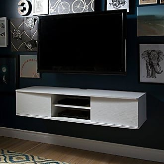 South Shore Furniture 9029676 Floating Wall Mounted Media Console, Pure White, 56