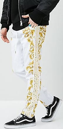 21 Men Victorious Baroque Print Pants at Forever 21 White/gold