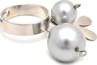 Tinna Jewelry Anel Prateado Flor Pérola