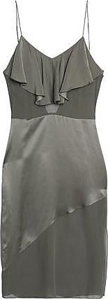 Fleur du Mal Fleur Du Mal Woman Ruffled Silk-charmeuse And Crepe De Chine Midi Slip Dress Grey Green Size S