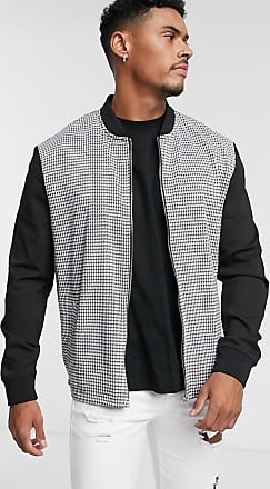 Topman Jacke mit Hahnentrittmuster und durchgehendem Reißverschluss-Weiß