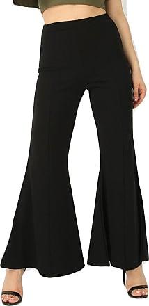 Momo & Ayat Fashions Ladies Crepe Wide Leg Bell Bottom Trousers UK Size 8-14 (UK 8 (EUE 36), Black)