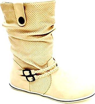 dce2f7c221d5f5 King Of Shoes Damen Stiefeletten Stiefel Boots Flache Schlupfstiefel Schuhe  (37