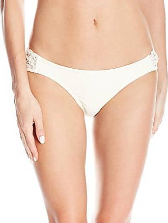 ecaa7e7c7f Jessica Simpson Womens Flower Power Crochet Solid Color Side Shirred Hipster  Bikini Bottom, Vanilla,
