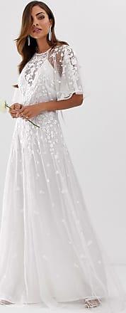 Asos Annie - Bruiloftsjurk met geborduurde bloemen en fladdermouwen-Wit