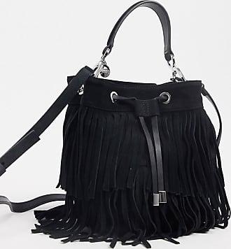 BOSS Hugo Boss drawstring-close bucket back in leather in black
