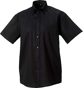 Russell Athletic Russell Collection Mens Short Sleeve Ultimate Non-Iron Shirt (17.5inch) (Black)