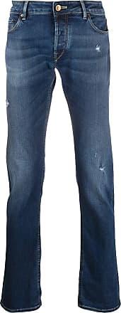 Hand Picked Calça jeans reta com efeito destroyed - Azul
