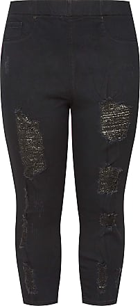 Yours Clothing Clothing Womens Extreme Distressed Cropped Jenny Jeggings Size 30-32 Black