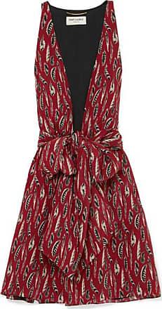 135733a9e26c Saint Laurent Printed Silk Crepe De Chine Mini Dress - Red