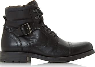 Dune London Dune Mens COMMONN Side Zip Boots Size UK 11 Black Flat Heel Lace Up Boots