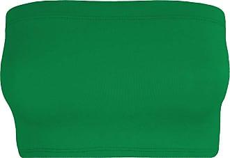 Janisramone Womens Ladies New Plain Boob Tube Strapless Bandeau Stretch Soft Elastic Vest Bra Crop Top Jade Green