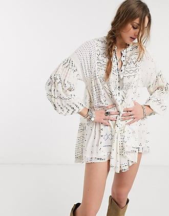 Free People shibori mini dress in ivory-White