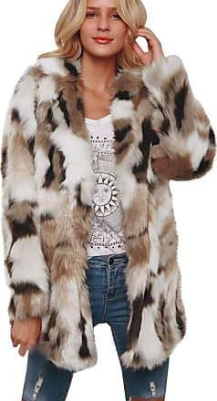 JERFER Womens Ladies Warm Faux Wollen Coat Jacket Winter Turn Down Collar Outerwear
