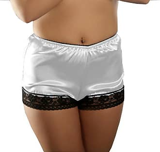 Nine X French Satin Knickers with Lace Trim S-3XL, Many Colours White XL