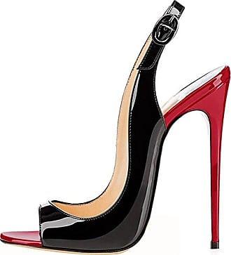 EDEFS Womens High Heels Sandals Open Toe Slingback Court Shoes Sexy Stilettos Pumps BlackRed EU39