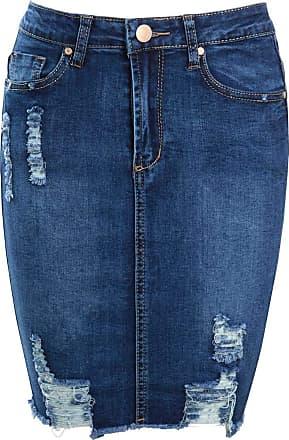 Women ladies girls distressed denim skirt ripped Mini short Skirts 8 10 12 14 16