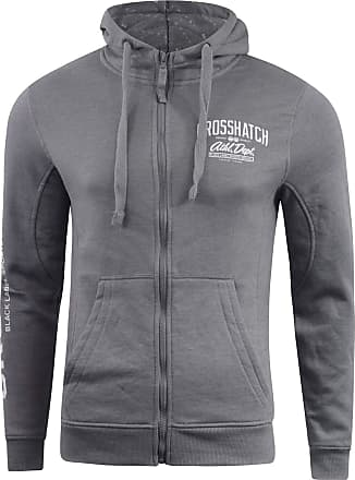 Crosshatch Mens Hoodie Sweatshirt Full Zip Hooded Jumper Top Pullover MOREZ(XL,MID Grey Marl)