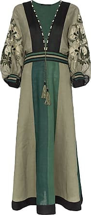 Vita Kin Vestido Celia de linho - Verde