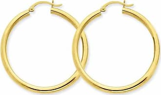 Quality Gold 14kt Yellow Gold Polished 3mm Lightweight Round Hoop Earrings