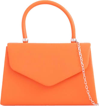 LeahWard Womens Faux Leather Clutch Bag Top Handle Wedding Handbags (Orange)