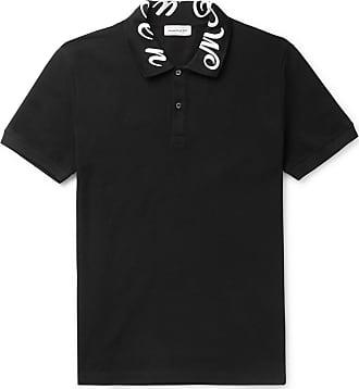 Alexander McQueen Slim-fit Logo-embroidered Cotton-piqué Polo Shirt - Black
