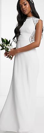 Tfnc Bruiloft - Hoogsluitende lange jurk met kanten inzetstuk in gebroken wit