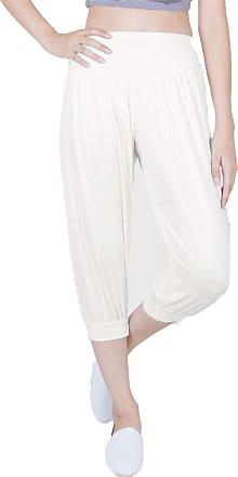 Lofbaz LOF Womens Capri Yoga Pants Rayon Spandex Plus Size - Off White 5 2XL