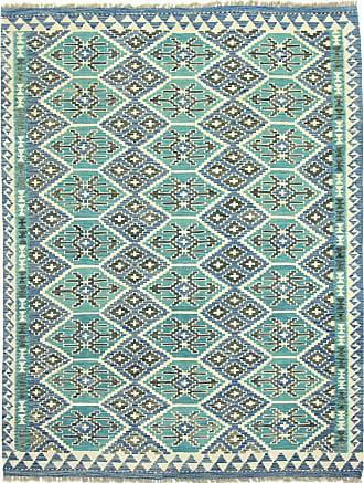 Nain Trading 200x155 Tappeto Orientale Kilim Afghan Heritage Beige/Blu (Lana, Afghanistan, Tessuto a mano)