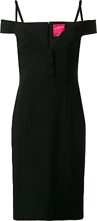 Blumarine Vestido slim com decote - Preto