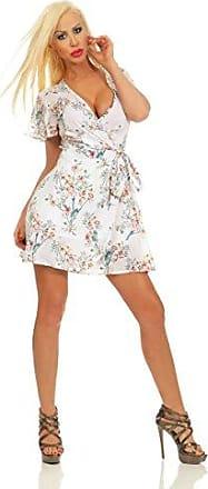3990 Damen Mini Kleid Wickelkleid Sommer Kurzarm Blumen Minikleid Rückenfrei