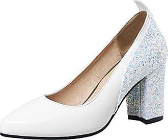 4e5619e15da4cc Zanpa Damen Moda Absatz Pumps Slip on Hohe Schuhe mit Glitter White Gr 36