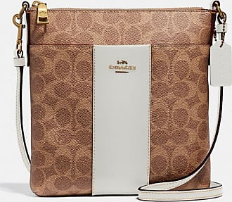 Coach Kitt Messenger Crossbody In Colorblock Signature Canvas in Beige/Brown/White