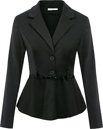 Belle Poque Women Evening Party Retro Front Buttons Notch Lapel Elegant Jackets Coat Top Black 948 L