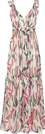 9221fb886dd BA SH Robe longue décolletée imprimée lurex en soie