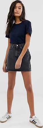Weekday denim mini skirt in washed black