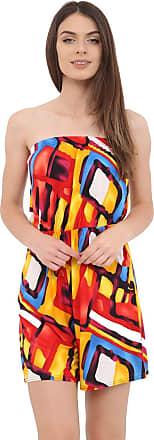 Momo & Ayat Fashions Ladies Printed Elasticated Stretch Waist Casual Bandeau Playsuit UK Size 8-14 (Multi Paint, M/L (UK 12-14))