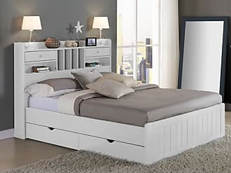 Vente-unique.ch Holzbett mit Stauraum Mederick - 140x190cm - Weiß