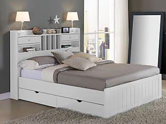 Venta-Unica.com Estructura de cama MEDERICK con almacenaje - 140x190 cm - Pino blanco