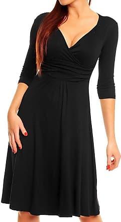 Zeta Ville Zeta Ville - Womens Empire Waist Pleated Skater Dress 3/4 Sleeves - 282Az (Black, UK 18, 3XL)