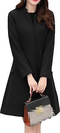 H&E Women Slim Fit Single-Breasted Wool-Blend Outwear Overcoat Pea Coat Black Small