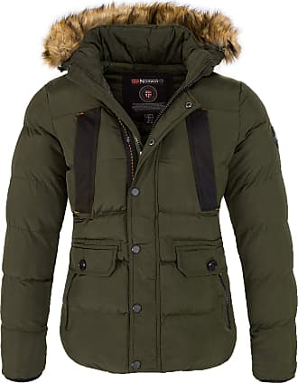 Geographical Norway Mens Winter Jacket with Hood Faux Fur Collar - Green - X-Large