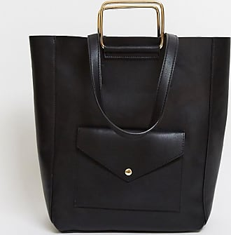 Glamorous tote bag with front pocket in black